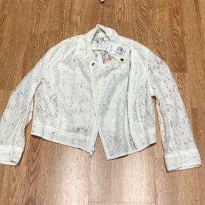 "Forever21 NWT cream lace ""Moto jacket""."